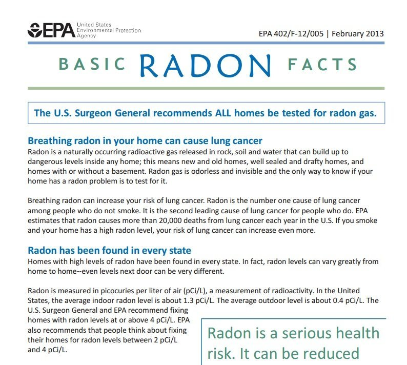 Epa'S Basic Radon Facts - Utah Radon Services In Utah