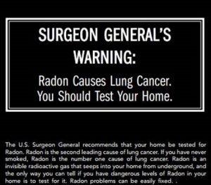 surgeon generals warning radon